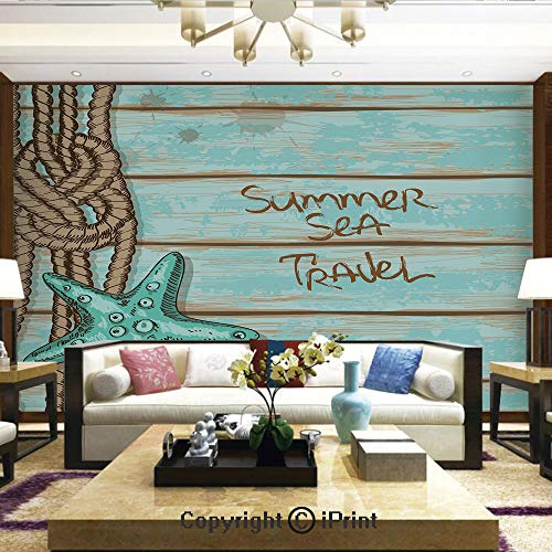 Wallpaper Nature Poster Art Photo Decor Wall Mural for Living Room,Summer Sea Travel Retro Boards of Ship Deck Rope Scallops Decorative,Home Decor - 66x96 inches