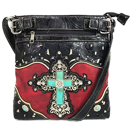 Justin West Tooled Leather Laser Cut Turquoise Rhinestone Cross Concho Studded Messenger Handbag with CrossBody Strap (Red Messenger Only)
