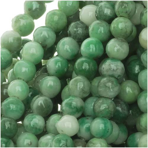 China Jade 4-4.5mm Round Beads Green / 15.5 Inch Strand -