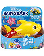 Robo Alive Junior Baby Shark Battery-Powered Sing and Swim Bath Toy by ZURU - Baby Shark (Yellow)