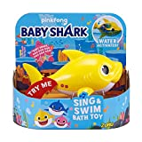 Robo Alive Junior Baby Shark Battery-Powered Sing and Swim Bath Toy by ZURU - Baby Shark (Yellow) (Color may vary)