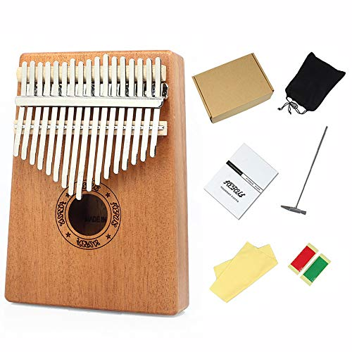 gdfh Kalimba 17 Keys Thumb Piano Finger Piano, Musical Instrument Gifts for Kids Adult Beginners with Tuning Hammer and Study Instruction
