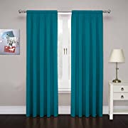 """PAIRS TO GO Curtains for Bedroom - Cadenza 80"""" x 63"""" Decorative Double Panel Rod Pocket Window Treatment Privacy Curtain Pair for Living Room, Teal"""