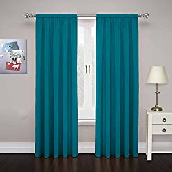 Pairs to Go 15110080X063TEL Cadenza 80-Inch by 63-Inch Microfiber Window Panel Pair, Teal