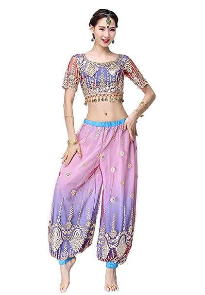 Yuyudou Traje de Danza del Vientre para Mujer, India Traje ...