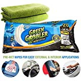 Grün Gobbler CLEAN & SHINE Waterless Car Wash Auto Towels for Interiors & Exteriors cleaning (Super thick absorbent pre moistened towels,Coconut Scented) 20 Count + 2 Microfiber Cloths