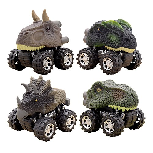 Dinosaur Toys, Pull Back Dinosaur Cars, Toys for 3 4 5 6 Year Old Boys, DIDUBUY 4-Pack Toys Set with Big Tire Wheel for Kids Party Favors Creative Gifts Prizes, Stocking Stuffers for Kids