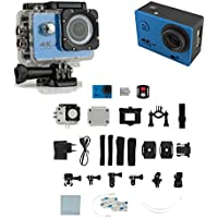 4K Ultra HD 16MP 1080p 60fps Blue Sports Action Camera + Full Accessory Bundle