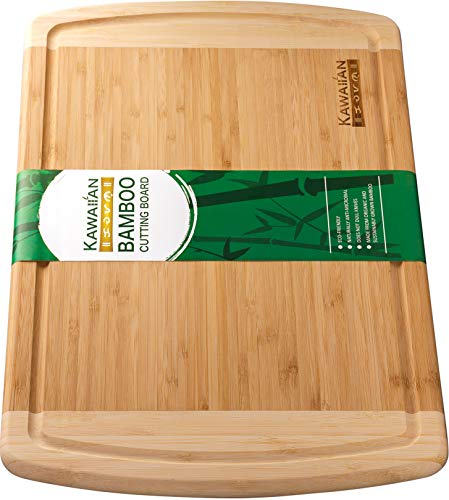 Kawaiian Bamboo Cutting Board for Kitchen - Extra Large Organic Wooden Chopping Board with Drip Groove - Serving Tray for Appetizers, Bread, and Cheese