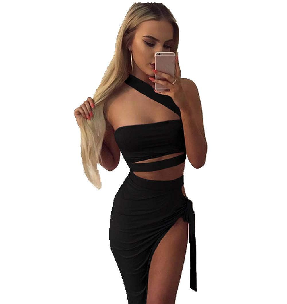 6baf4790b6 Womens Sexy Wrap Irregular Dress, Sleeveless Off Shoulder Bodycon Bandage  Party Club Dresses at Amazon Women's Clothing store: