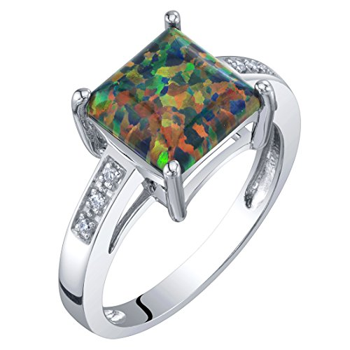 14K White Gold Created Black Opal and Diamond Princess Cut Solitaire Ring 1 Carat Size - Diamond Ring Platinum Cluster