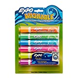 EXPO Washable Dry Erase Markers, Bullet Tip, Assorted Colors, 6-Count