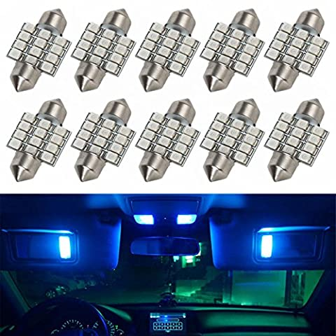 Partsam 10pcs Blue Car LED Bulbs 12-SMD 31mm Festoon Interior Dome Map Reading Trunk Cargo Lights Lamps 3021 3022 3175 6428 6430 for Lexus Honda - 1995 Honda Civic Trunk