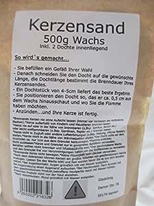 Vela de cera Sand 500g (incl. 2mechas Decoración
