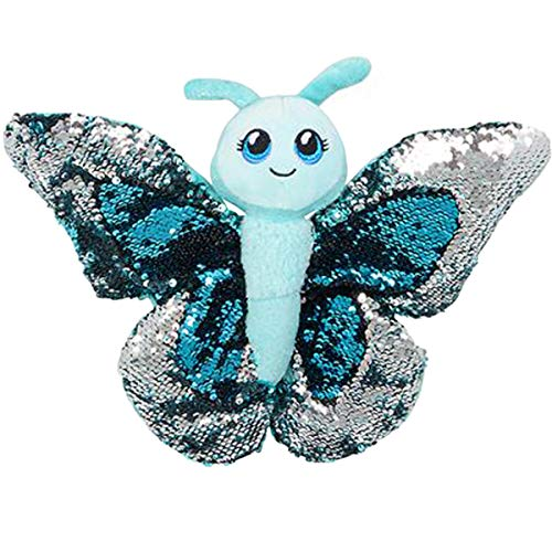 Sequin Butterfly Plush Stuffed Animal by Reversible Sequins (Blue)