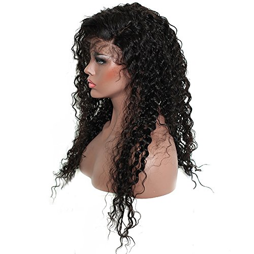 Brazilian Remy Hair 130% Density Full Pre Plucked Natural Hairline Loose Deep Curly Long Human Hair Lace Front Wigs for African American Black Women Black Women with Baby Hair 14inch by Sarah Wig (Image #4)