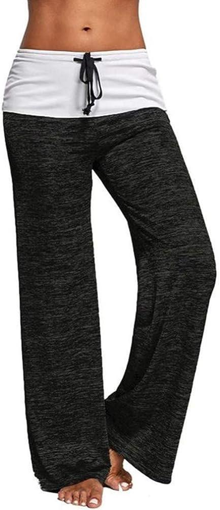 DDZHE Womens Yoga Wide Leggings Comfy Casual Pajama Pants High Waist Drawstring Lounge Pants Wide Leg