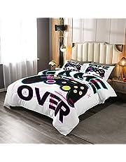 Erosebridal Kids Gamepad Comforter Set, Video Games Down Comforter, Gamer Joystick Bedding Set for Boys Teens Girls Youth, Novelty Game Duvet Insert Bedroom Decor, Purple White