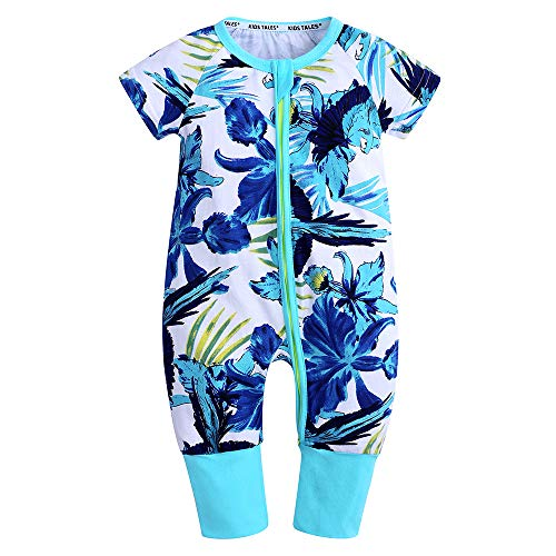 (Kids Tales Baby Boys Girls Zipper Short Sleeve Pajama Sleeper Cotton Romper(Size 3M-3T))
