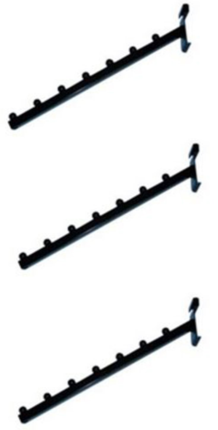 7-Ball Waterfall Hook for Grid Panels Black Set of 3