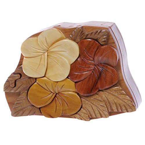 (Handcrafted Wooden Flowers Shape Secret Jewelry Puzzle Box - Flowers)
