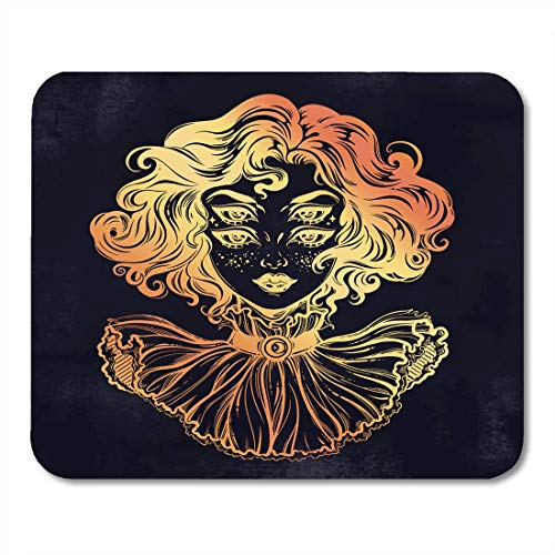 Deeoor Mouse Pads Gothic Witch Girl Head Portrait Curly Hair and Four Eyes Lady is Ideal Halloween Tattoo Weird Psychedelic Mouse Pad Mats 9.5