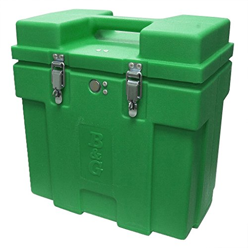 - B & G Equipment 763-GRN Junior Carrying Case, with Lock, Rotationally Molded, Aluminum Hinges and Locks, Built in Handles, 16.5