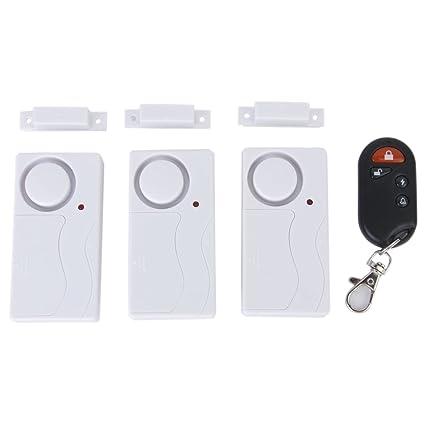 SODIAL (R) 3 piezas sensor magnetico inalambrico ventana de la puerta de entrada alarma de seguridad con control remoto