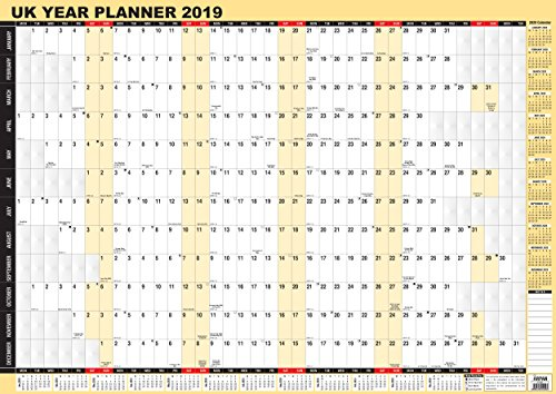 2019 Year Wall Planner,Laminated Yearly Wall Planner Calendar By Arpan (A1-2019)