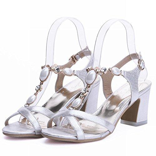 Carolbar Women's Grace Stylish Beaded Mid Heel Rhinestones Buckle Sandals Silver c3JY0NLS