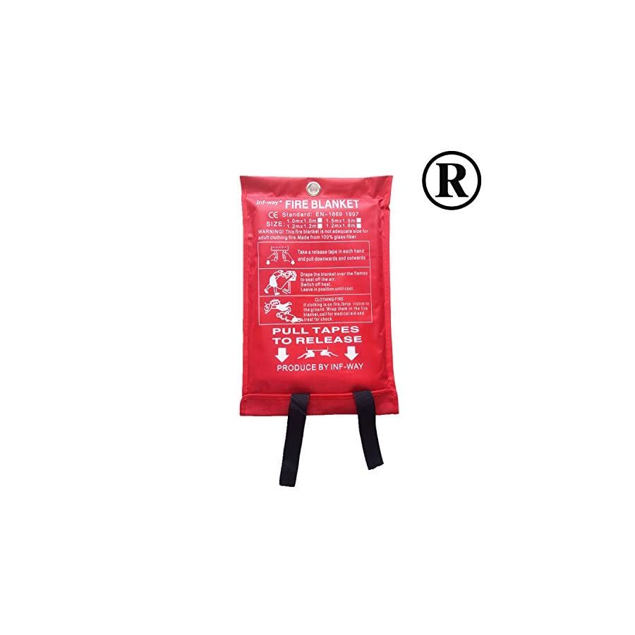 Inf way Fire Blanket, Fiberglass Fire Flame Retardent Emergency Surival Fire Shelter Safety Cover