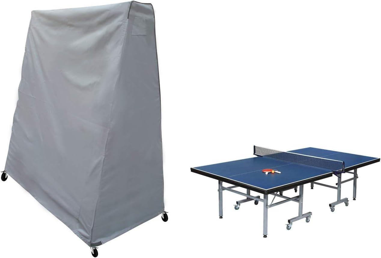 Grigio 210D Oxford in PU Laxllent Copertura per Tavolo da Ping Pong,Impermeabile Cover,165 x 85 x 185 cm