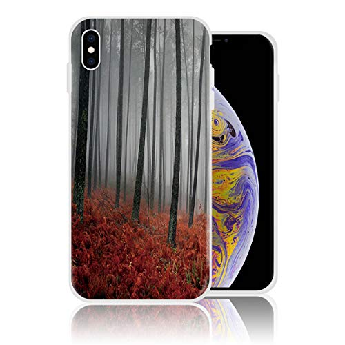Silicone Case for iPhone 7 and iPhone 8, Foggy Froest and Red Plant Personalized Design Printed Phone Case Shockproof Full Body Protection Anti-Scratch Drop Protection (College Halloween Party Tumblr)