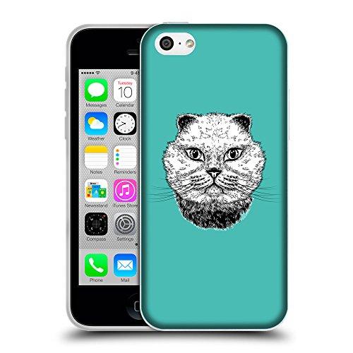 GoGoMobile Coque de Protection TPU Silicone Case pour // Q05220634 gros chat Turquoise // Apple iPhone 5C