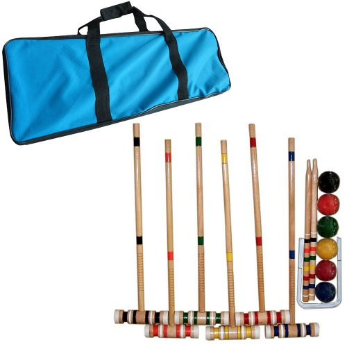 Croquet Set- Wooden Outdoor Deluxe Sports Set with Carrying Case- Fun Vintage Backyard Lawn Recreation Game, Kids or Adults by Hey! Play! (6 Players) (Croquet Game)
