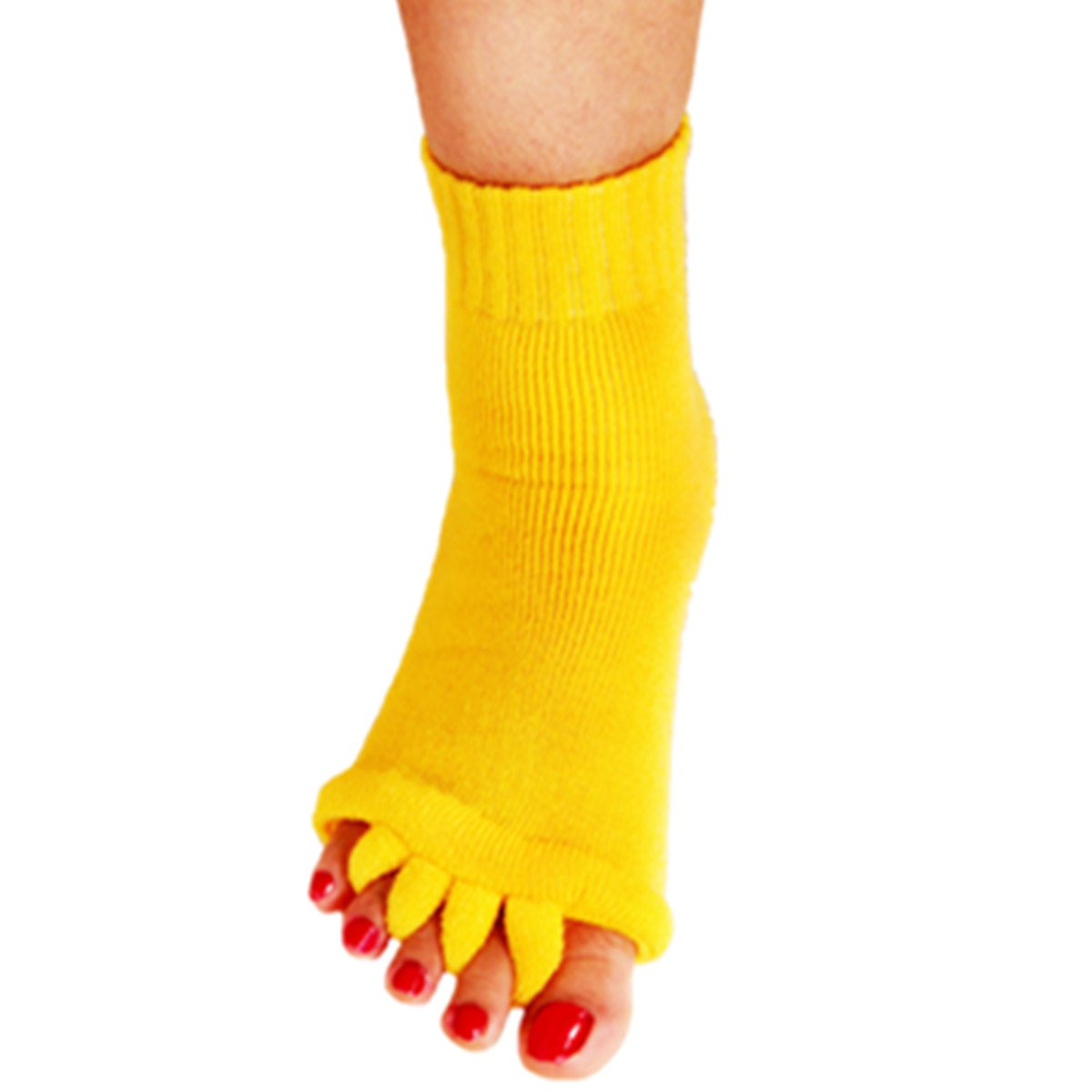 1 Pair Yoga GYM Massage Five Toe Separator Socks Foot Alignment Pain Relief Hot (One Size, A-Yellow)