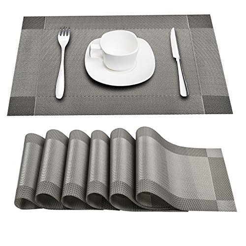 Prunend Heat-resistant Placemats Stain Resistant Anti-skid Washable PVC Table Mats Woven Vinyl Placemats, Set of 6 (silver)