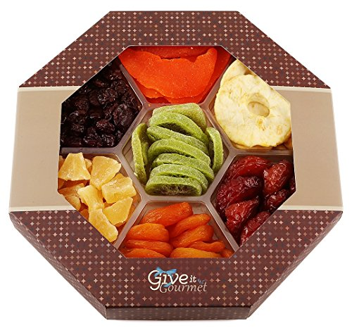 GIVE IT GOURMET, Fathers Day Assortment of Dried Fruits Gift Basket (7 Section) - Array of Delicious Dried Fruit for Snack Gifts | Large Healthy Gift Baske