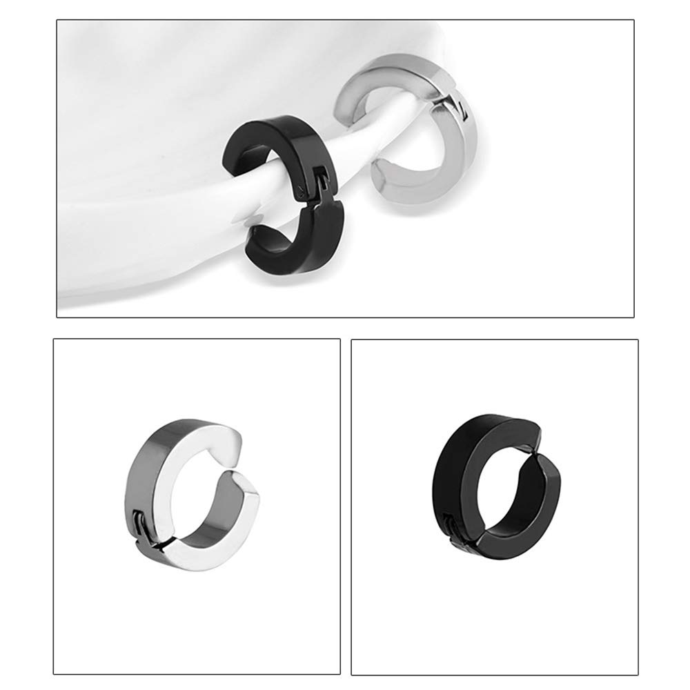 Black Silver Gold Holographic Color Huture 8 Pcs 316L Stainless Steel Earring Clips Ear Cuff Hoops Non Piercing Clip On Stud No Ear-Hole Hypoallergenic for Women Men