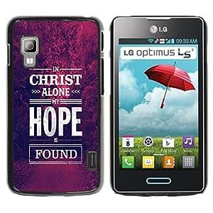 Qstar Arte & diseño plástico duro Fundas Cover Cubre Hard Case Cover para LG Optimus L5 II Dual E455 / E460 / Optimus Duet ( Christ Hope God Christian Purple)