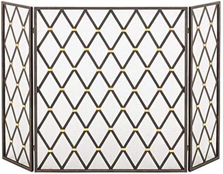 暖炉用品・アクセサリ ヒンジ付き3パネル暖炉スクリーン、錬鉄スパークガード装飾メッシュ、ベビーセーフエンバーフェンスウッドバーナー、48×31.5インチ (Color : Black)