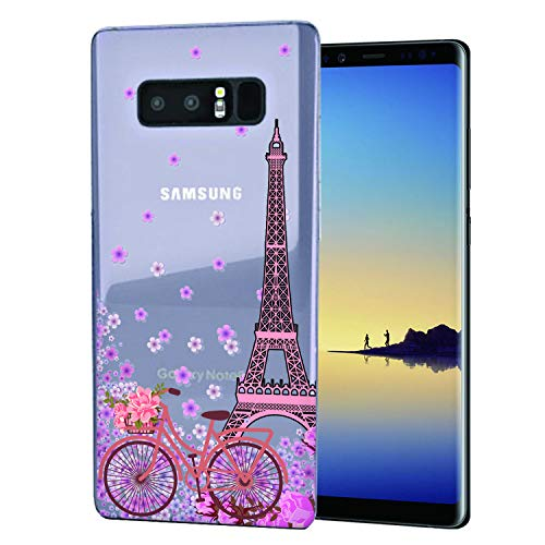 Cocomong Paris Eiffel Tower Cute Galaxy Note 8 Case, Floral Bike Slim Thin Silicone Protective Cover Case for Samsung Galaxy Note 8 for Girls Womens ()