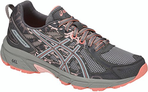 ASICS Womens Venture 6 Running Sneaker, Carbon/Mid Grey/Seashell Pink, Size 8.5 Wide
