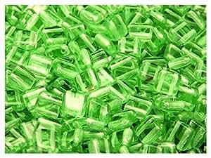 40 piezas checo cuentas de vidrio azulejo dos-agujero, 6 x2,9 millimeter plana cuadrada Verde peridotita