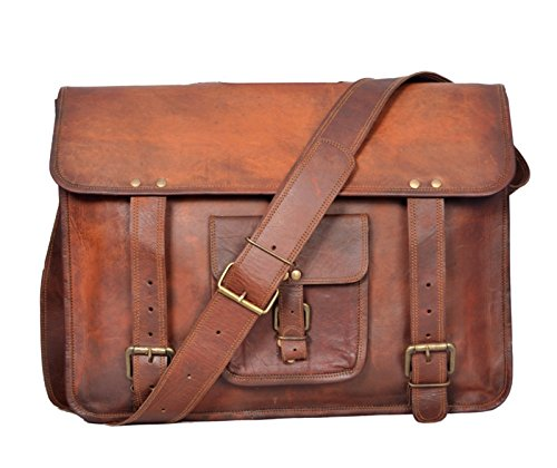 Leather Vintage Crossbody Messenger Courier Satchel Bag Gift Men Women ~ Business Work Briefcase Carry Laptop Computer Book Handmade Rugged & Distressed ~ Everyday Office College School (11 x 15) by ULS BAG (Image #2)