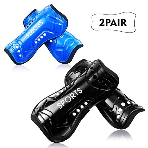 Youth Soccer Shin Guards, 2 Pair Lightweight and Breathable Child Calf Protective Gear Soccer Equipment for 3-10 Years Old Boys Girls Children Teenagers (Best Shin Guards For Kids)