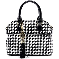 Elphis Patent Faux Leather Glossy Houndstooth Top Handle Tote Satchel (Black (1040))