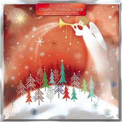 Pack of 6 Red Angel Charity Christmas Cards Supports Multiple Charities: Amazon.es: Oficina y papelería