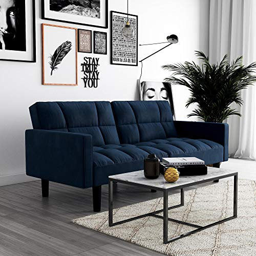 Sofa Microfiber Futon Sleeper (DHP Hayden Convertible Sofa Sleeper Futon with Arms - Blue Microfiber)