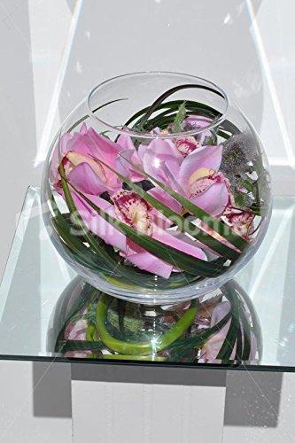 Moderno toque fresco Artificial rosa Cymbidium orquídea callejera cardo pecera arreglo Floral